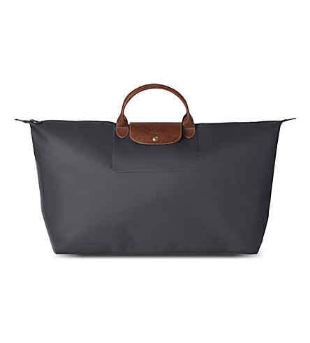 LONGCHAMP Le Pliage large travel bag (Gun+metal