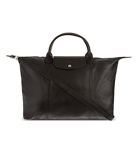 LONGCHAMP Le Pliage Cuir medium handbag (Black
