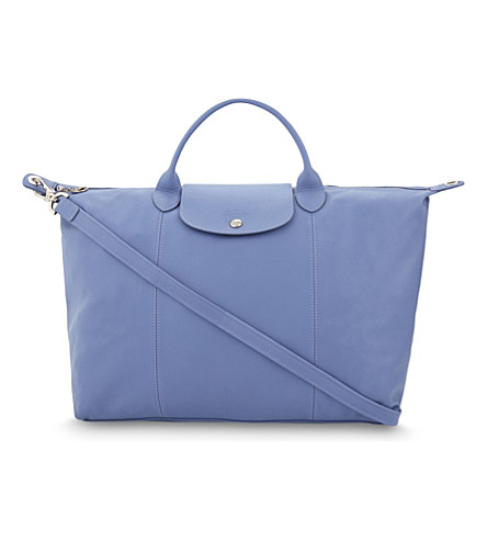 LONGCHAMP Le Pliage Cuir large leather handbag (Blue+mist