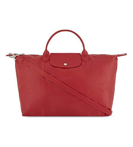 LONGCHAMP Le Pliage Cuir large leather handbag (Cherry