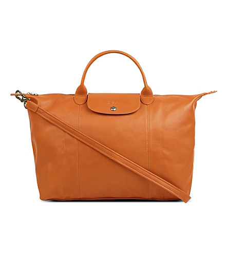 LONGCHAMP Le Pliage Cuir large leather handbag (Orange