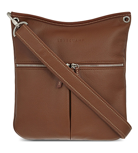 LONGCHAMP Le Foulonné leather cross-body bag (Cognac