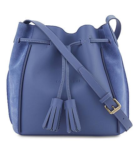 LONGCHAMP Pénélope Fantaisie leather bucket bag (Blue+mist