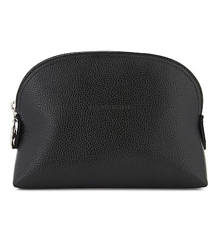 LONGCHAMP Le Foulonné leather cosmetic case (Black