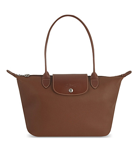 LONGCHAMP Foulonne leather shoulder bag (Cognac