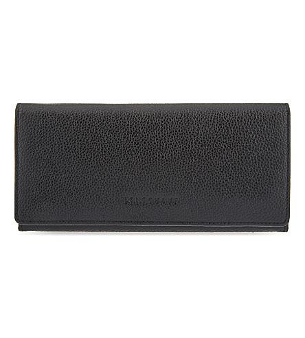 LONGCHAMP Le Foulonne long leather continental wallet (Black