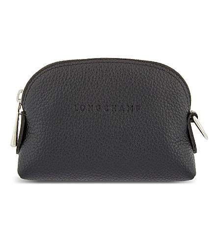 LONGCHAMP Le Foulonne leather coin purse (Black