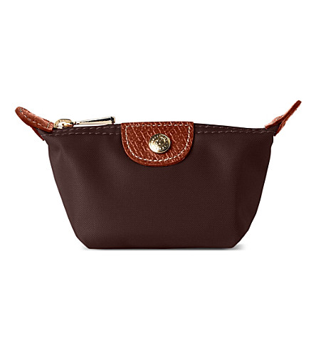 LONGCHAMP Le Pliage small coin purse in chocolate (Chocolate
