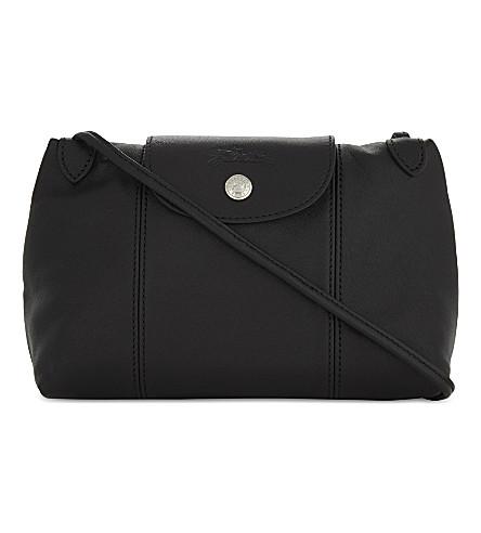 LONGCHAMP Le Pliage Cuir leather cross-body bag (Black