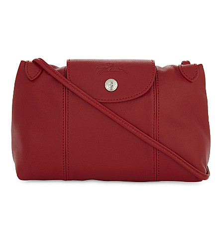 LONGCHAMP Le Pliage Cuir leather cross-body bag (Cherry