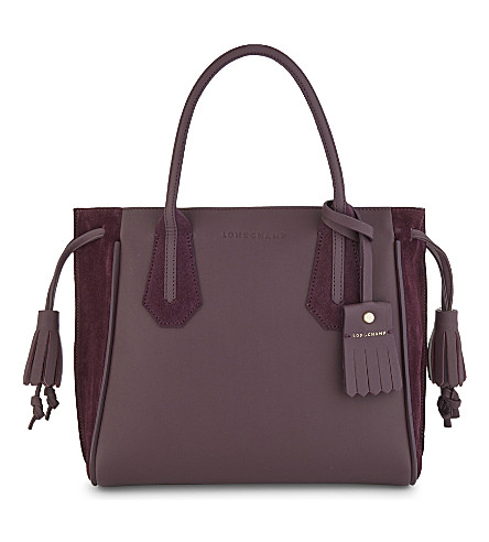 LONGCHAMP Penelope soft leather and suede tote (Aubergine