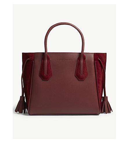 LONGCHAMP Pénélope soft leather and suede tote small (Bordeaux