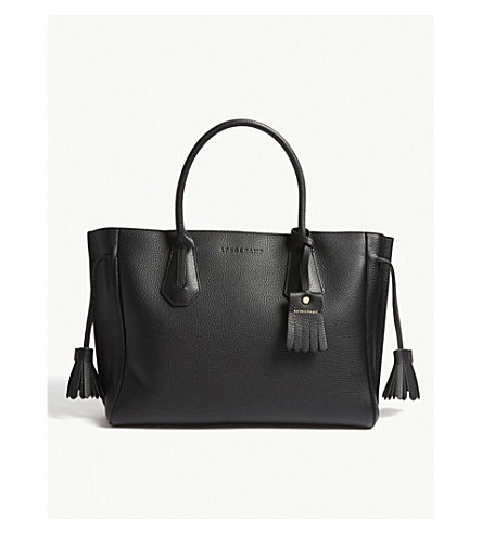 LONGCHAMP Pénélope grained leather tote bag (Black
