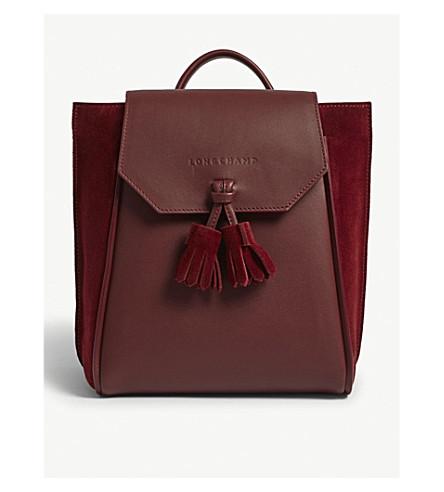 LONGCHAMP Pénélope leather and velvet backpack (Bordeaux