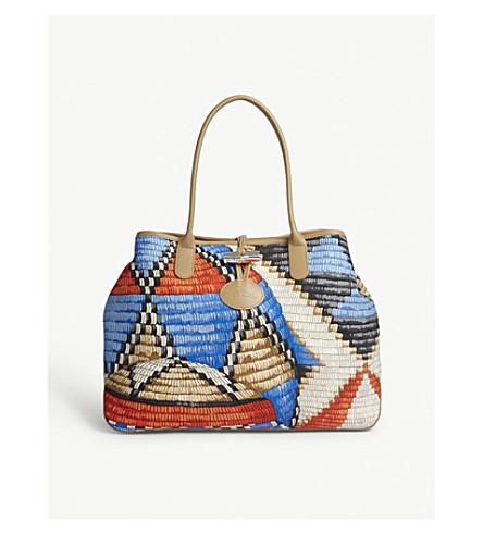 LONGCHAMP Roseau basket-weave canvas shoulder bag (Red/ocean