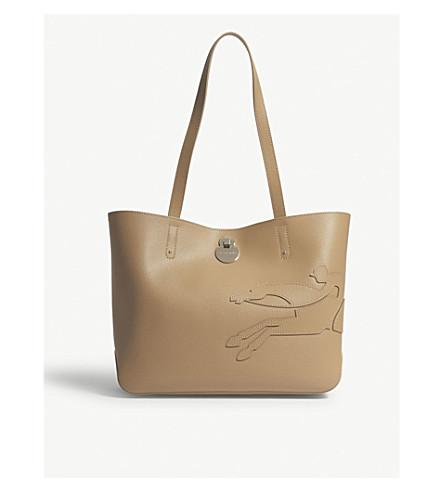 LONGCHAMP Shop-It small leather shoulder bag Sand Knock Off Clearance Store Sale Online Outlet Cheap Prices DePAi7MHQU
