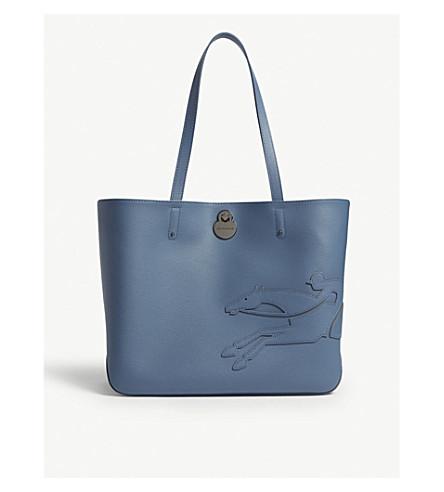 LONGCHAMP Shop-It leather shoulder bag (Pilot+blue