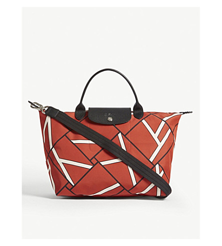 LONGCHAMP Le Pliage geometric retro print medium shoulder bag (Sienna