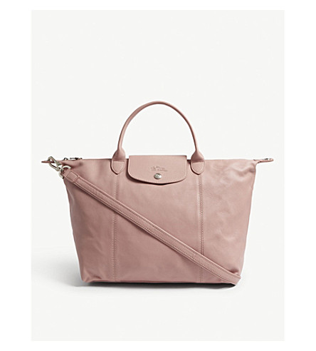 LONGCHAMP Le Pliage leather shoulder bag (Blush