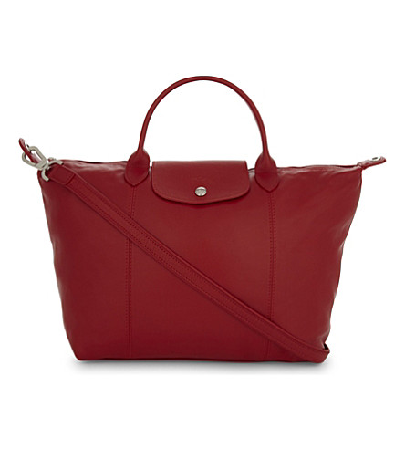 LONGCHAMP Le Pliage leather shoulder bag (Cherry