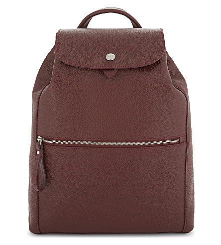 LONGCHAMP Foulonne leather backpack (Red+lacquer