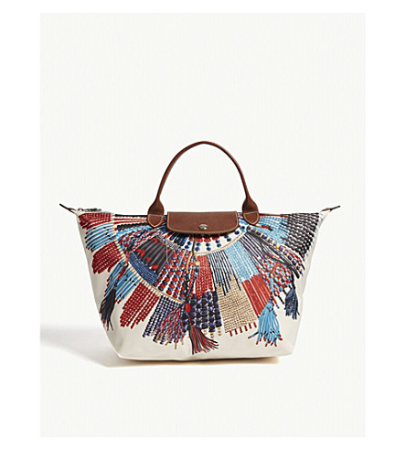 LONGCHAMP Le Pliage Collier Massaï necklace print medium tote (Blue/red