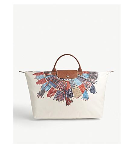 LONGCHAMP Le Pliage Collier Massaï necklace print large travel bag (Blue/red