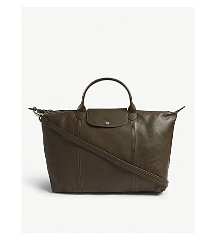 LONGCHAMP Le Pliage Cuir leather shoulder bag (Khaki