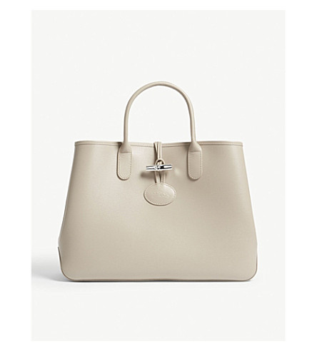 LONGCHAMP Roseau medium leather tote (Clay