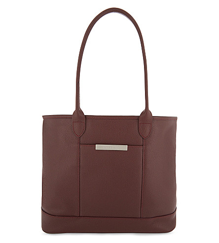 LONGCHAMP Foulonne leather tote (Red+lacquer