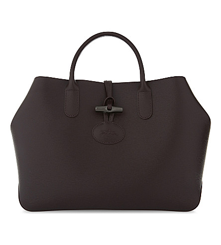 LONGCHAMP Roseau leather tote (Aubergine