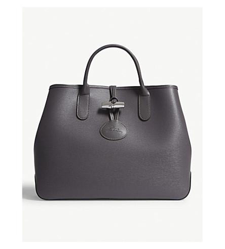 LONGCHAMP Roseau medium leather tote bag (Grey