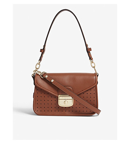 LONGCHAMP Mademoiselle leather shoulder bag (Cognac