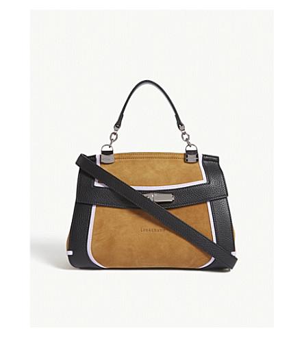 LONGCHAMP Madeleine leather panel cross-body (Honey/lilac