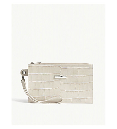 LONGCHAMP Roseau croc-embossed leather pouch (Ivory