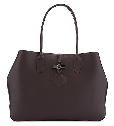 LONGCHAMP Roseau leather tote (Aubergine