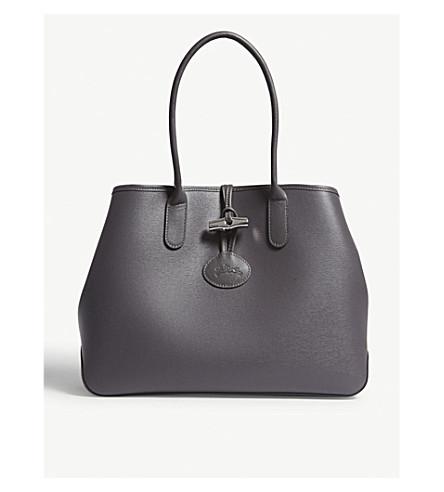 LONGCHAMP Roseau leather shoulder tote bag (Grey