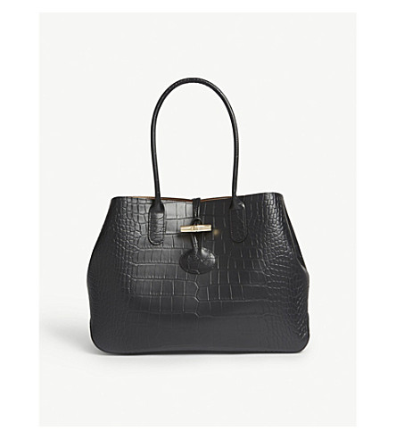 LONGCHAMP Roseau crocodile-embossed leather tote (Black