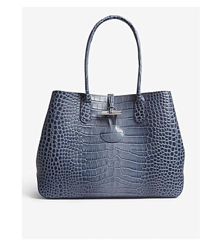 LONGCHAMP Roseau crocodile-embossed leather tote (Pilot+blue