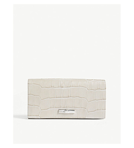 LONGCHAMP Roseau crocodile-effect leather continental wallet (Ivory
