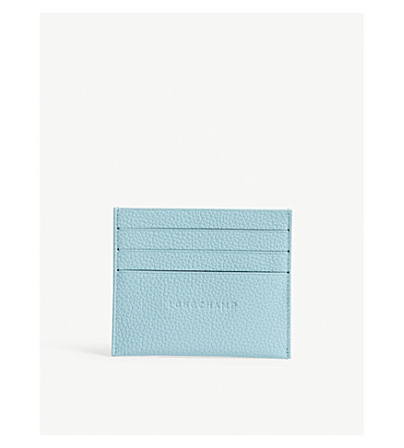LONGCHAMP Foulonne grained leather card holder (Aqua