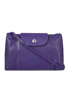 LONGCHAMP Le Pliage Cuir cross-body bag in amethyst