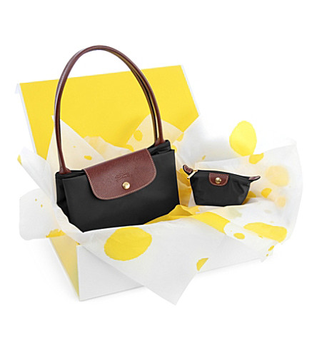 LONGCHAMP Le Pliage large shopper and coin purse gift set (Black