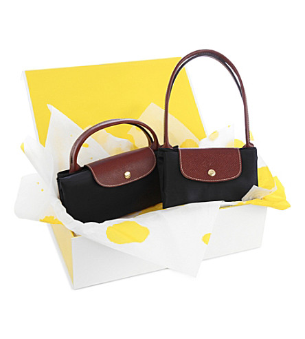 LONGCHAMP Le Pliage large travel bag and small shopper gift set (Black
