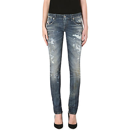 DIESEL Grupee distressed skinny jeans (Blue