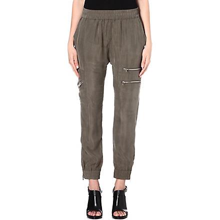 DIESEL Upit zip-detail satin trousers (Khaki