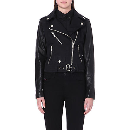 DIESEL Lupusc leather-sleeve biker jacket (51f