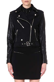 DIESEL Lupusc leather-sleeve biker jacket