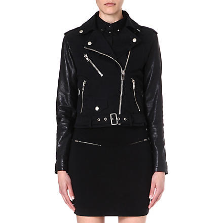 DIESEL Lupusc leather-sleeve biker jacket (Black