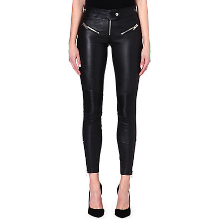 DIESEL Leather trousers (Black